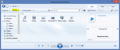 Windows Media Player correctly set up