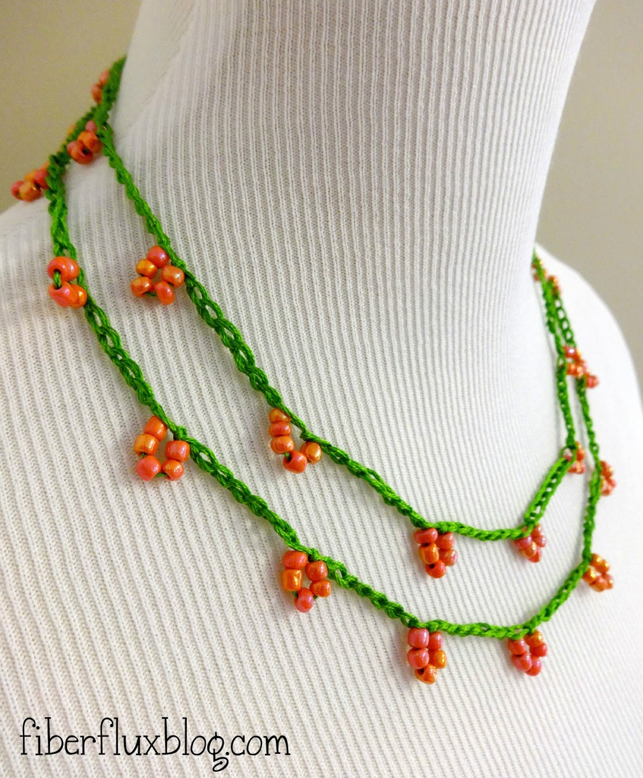 Crochet Tutorial Necklace : Fiber Flux: Free Crochet Pattern...Coral Blossom Necklace!