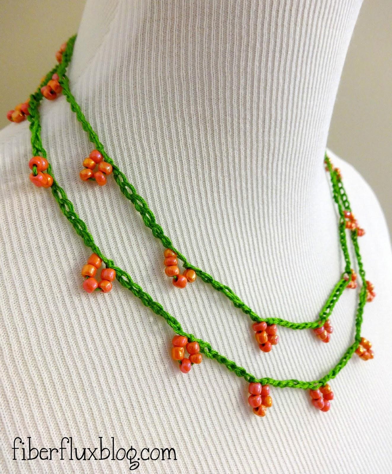 Fiber Flux: Free Crochet Pattern...Coral Blossom Necklace!