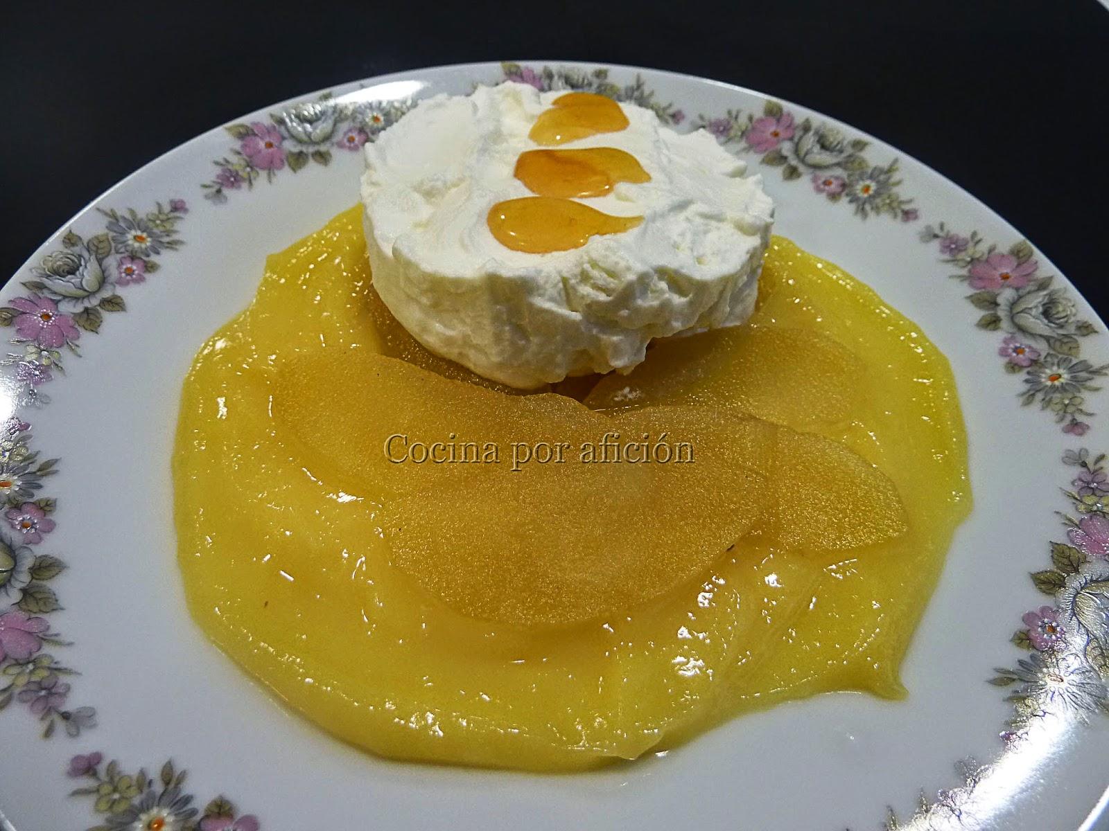 manzana, lemon curd, nata