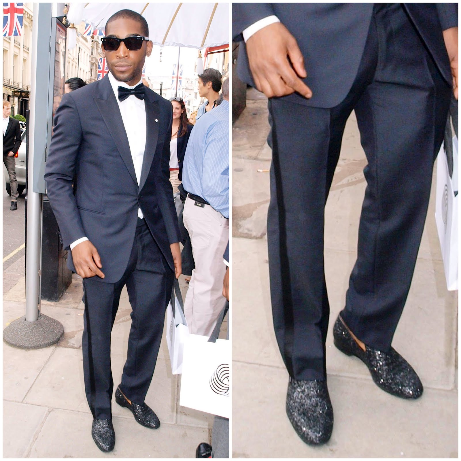 00O00 London Menswear Blog Tinie Tempah in Jimmy Choo glitter slippers. LONDON COLLECTIONS: MEN will take place for the second time from January 7 to January 9 2013. #LondonCollections