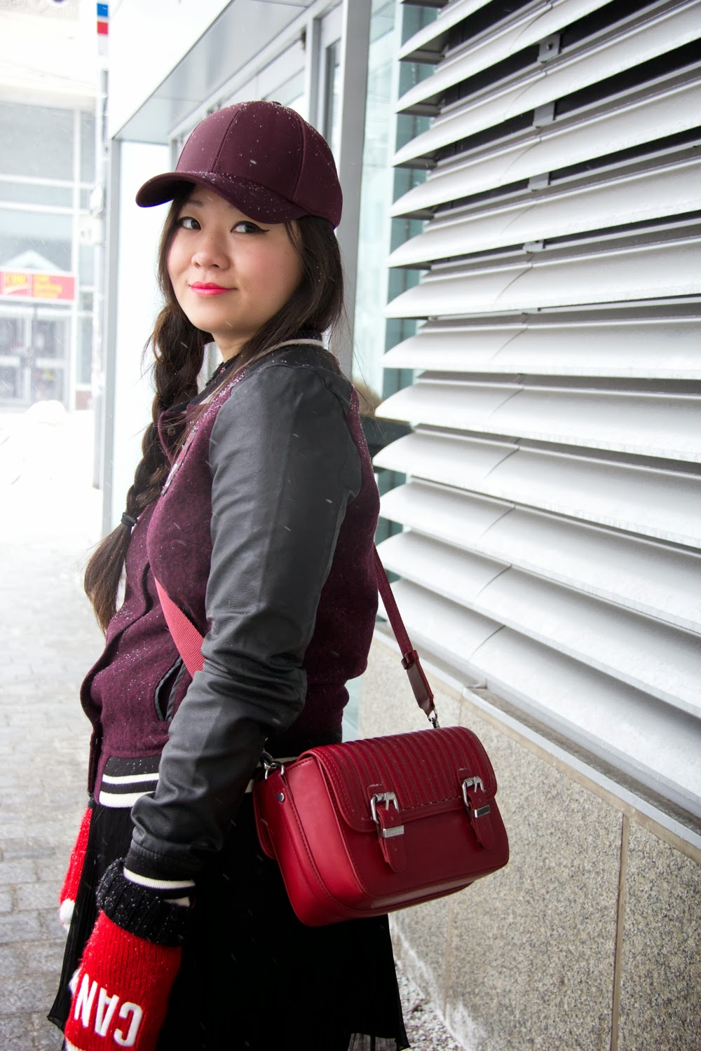 Burgundy-Baseball-Cap, HM-Varsity-Jacket-with-Faux-Leather-Sleeve, Zara-Bag