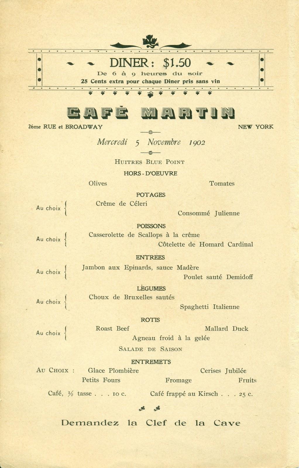 the american menu: the café martin