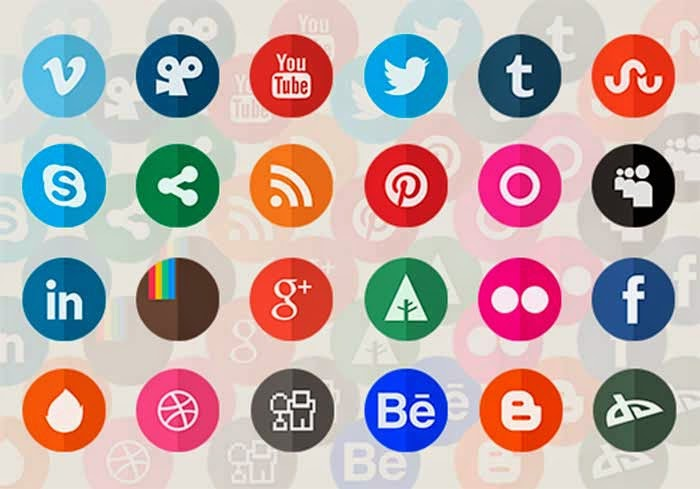 24 Circle Flat Social Media Icons Set