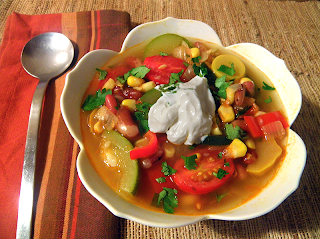 Bowl of 3 Sisters Stew with Sour Cream and Cilantro