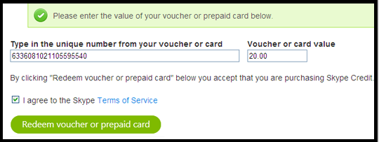 If you purchased your Skype voucher online, you will receive an email containing your voucher code. Click the redemption link in the email to be redirected to the 'Redeem voucher' page. The voucher number is filled in automatically.