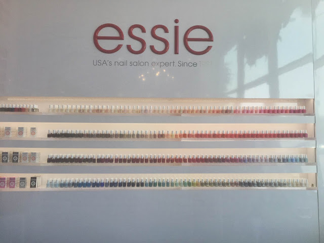 Essie, Essie Premiere nail salon, The Painted Nail W Hollywood, salon and spa directory, nails, nail polish, nail lacquer, nail varnish, manicure, pedicure, salon review, spa review, Katie Cazorla, nail polish wall, nail polish display