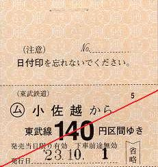 東武鉄道 常備軟券乗車券17 鬼怒川線 小佐越駅