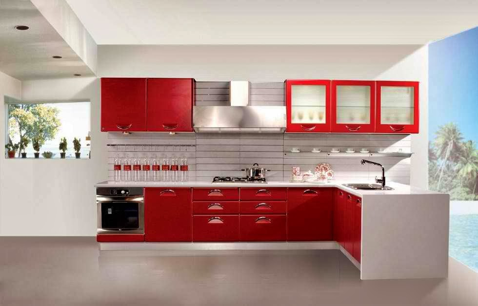 unique red and blue kitchen decorating ideas housing mania