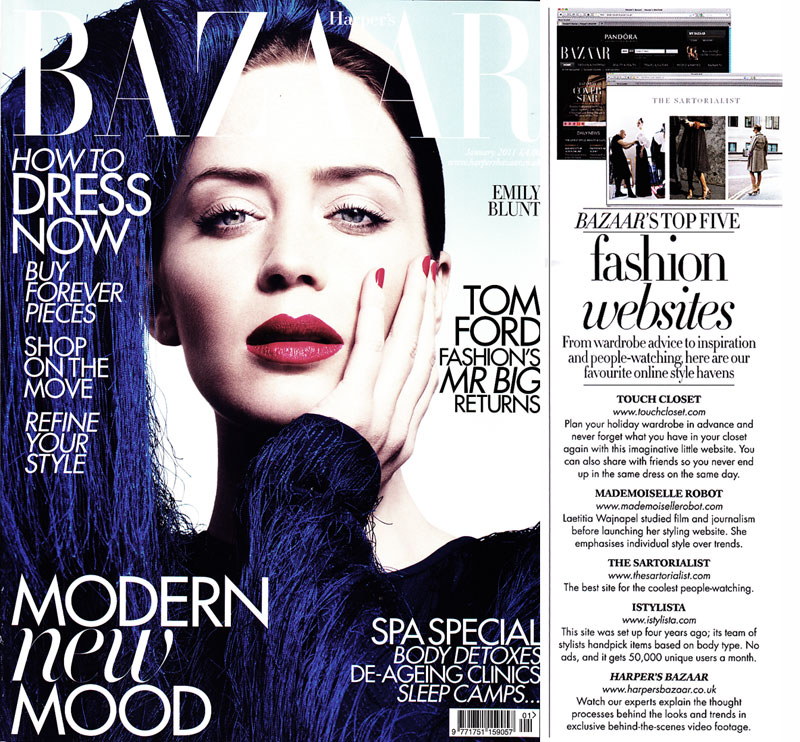 Harper's Bazaar - January 2011 - Top Five Fashion Websites