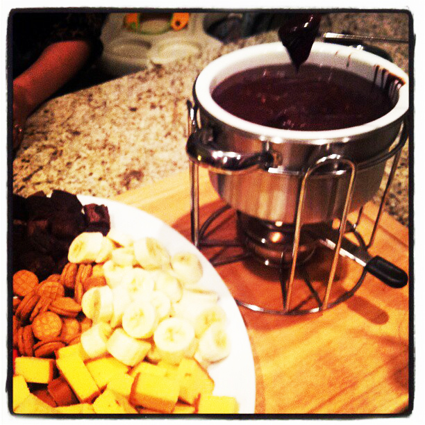 "Rumbly in my Tumbly: ""Melting Pot"" Chocolate Peanut Butter Fondue"