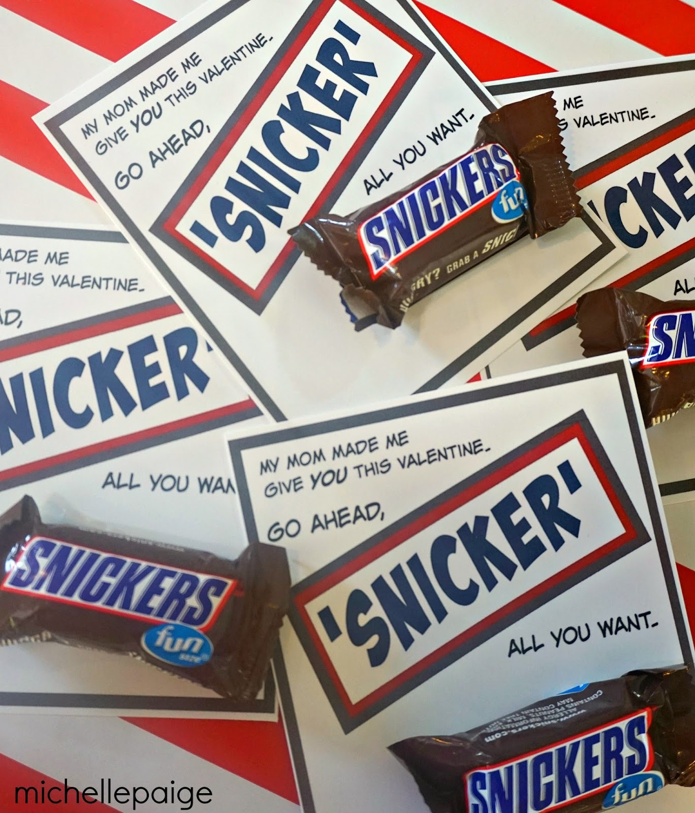michelle paige blogs: Snickers Valentines for a Teenager