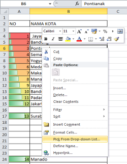 MICROSOFT EXCEL 2010 - FUNGSI PICK FROM DROP-DOWN LIST