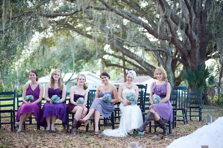 Purple Backyard Wedding :  Destination Dresses Purple Bridesmaid Dresses for an Outdoor Wedding
