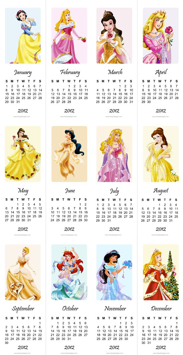 Free Printable 2012 Calendar Princesses