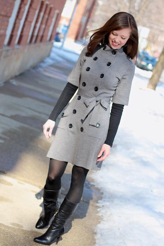 Gray Sweater Dress with Black | StyleSidebar