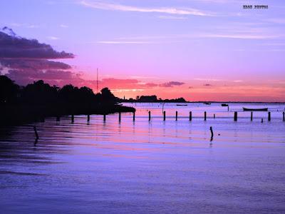 Fim de dia na lagoa dos patos em rio grande