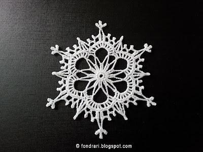 Heklað snjókorn Fancy Snowflake