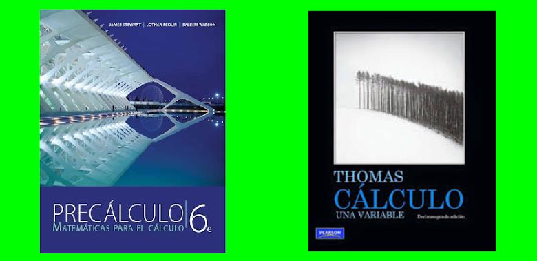 Dos imágenes: Una de un texto de Precálculo y otra de un texto de Cálculo.