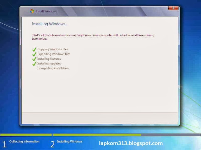 Menginstall windows 7 dengan Gambar Lengkap