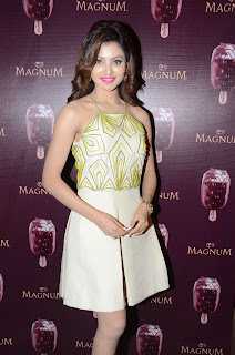 Actress Urvashi Rautela Pictures in Short Dress at Magnum Ice Cream Flavour Launch  5