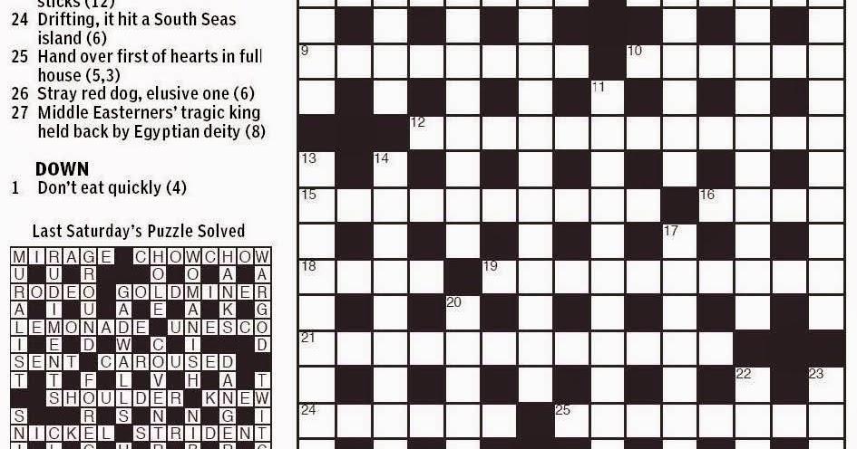 graphic regarding Printable Sheffer Crossword named Sty Chow Crossword Clue
