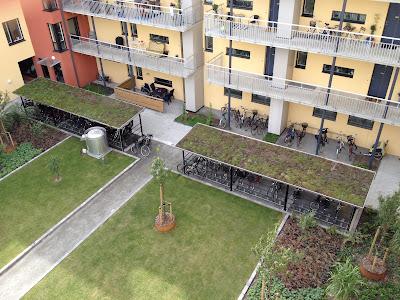 bike parking in courtyard