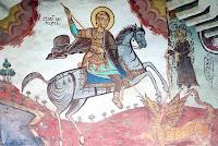 Scena pictata din biserica romaneasca - Sfântul Gheorghe, anonim, 1866, Opăteşti, jud Vâlce