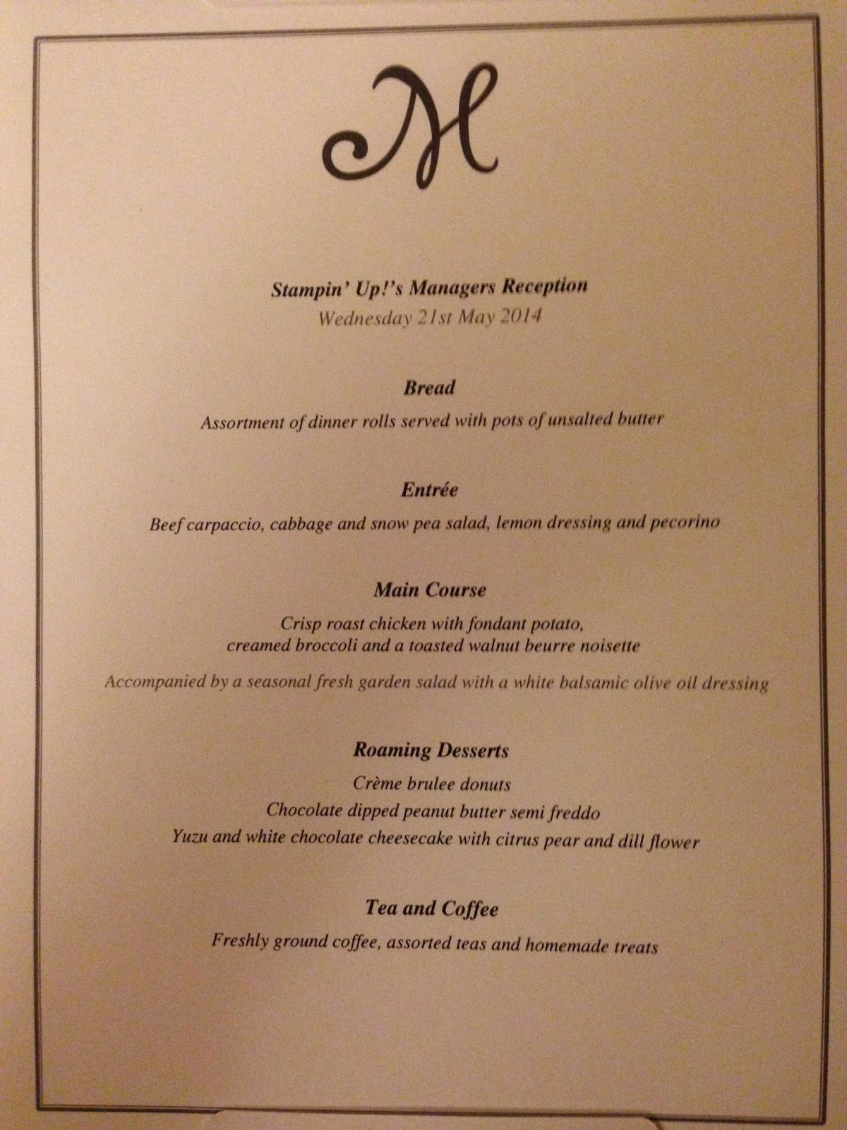 menu from the managers reception