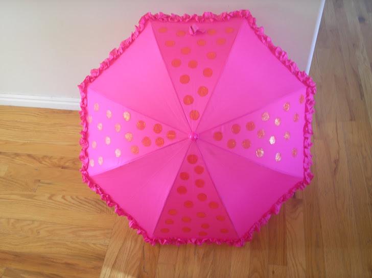 hot pink with orange polka dots