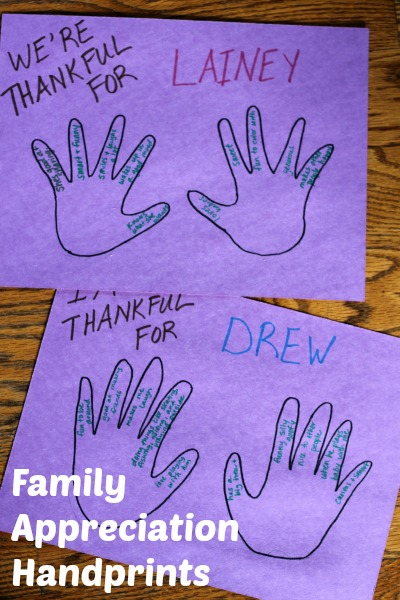 Family appreciation handprint activity