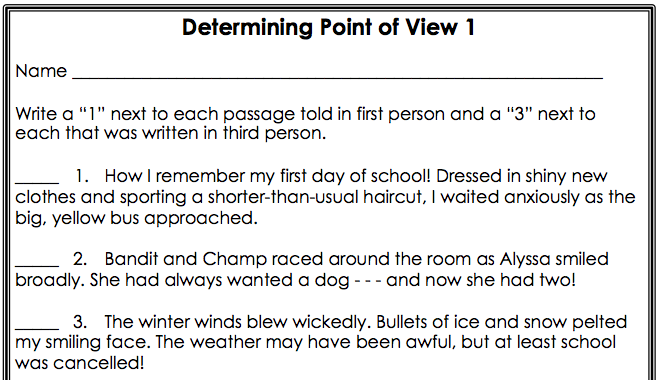 of Identifying Point Of View Worksheet Sharebrowse – Point of View Worksheets