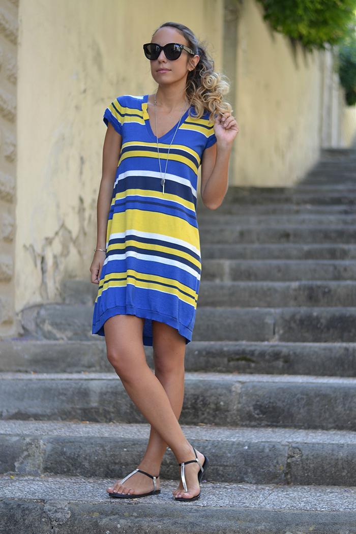 abito righe giallo blu