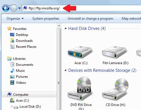 Langkah pertama buka Windows Explorer. Kemudian ketikkan ftp://ftp