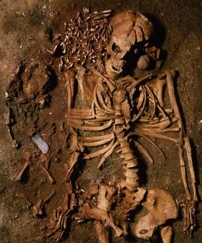 Mor og barn, stenalder-skeletter fra Vedbækfundene