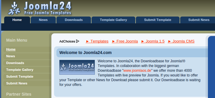 screenshot website penyedia template joomla gratis