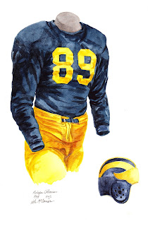 1948 University of Michigan Wolverines football uniform original art for sale