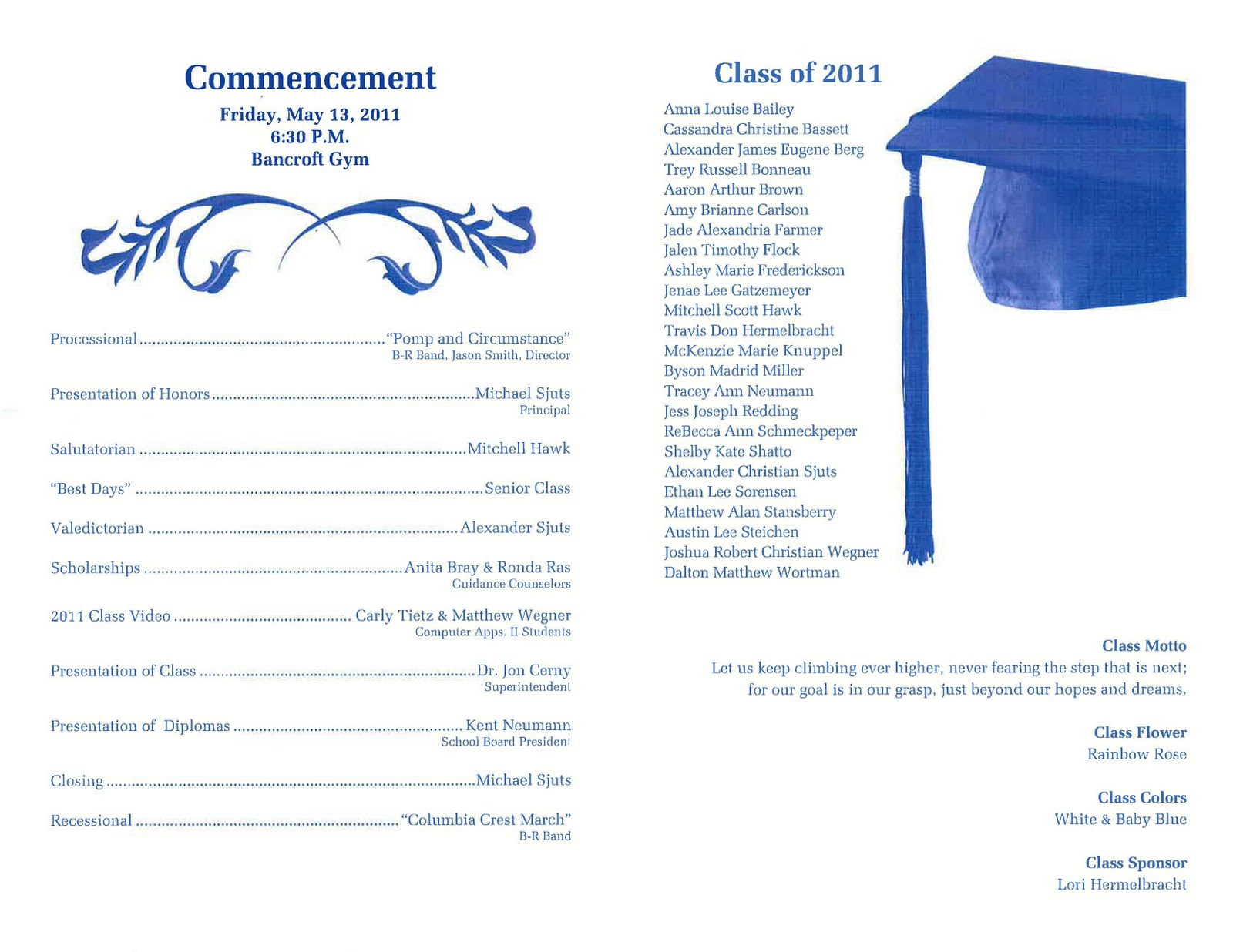 graduation program template – Graduation Invitations Templates 2011