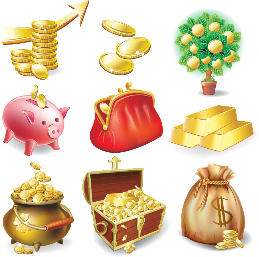 金貨を描いたクリップアート commercial and financial icon vector イラスト素材