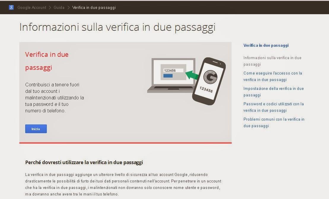 Collegati alla pagina di Google per la protezione dell'account con la verifica in due passaggi