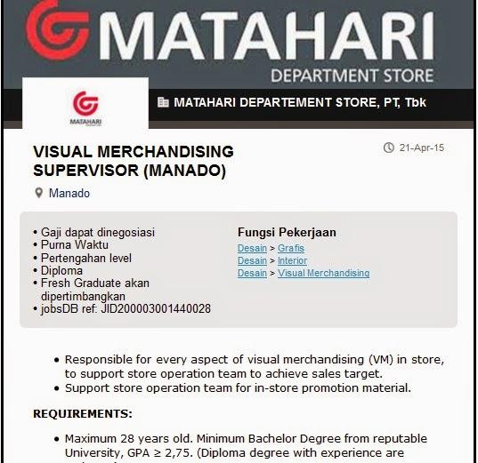 Lowongan Kerja Manado VMS PT Matahari Departement Store ...