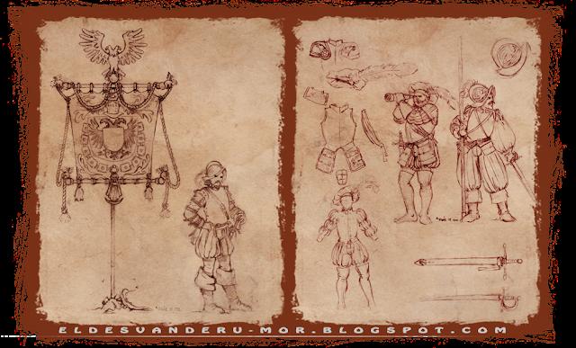 Diseños para varias miniaturas de los tercios o el imperio de Gamezone, en escala warhammer fantasy, diseñadas y dibujadas por ªRU-MOR