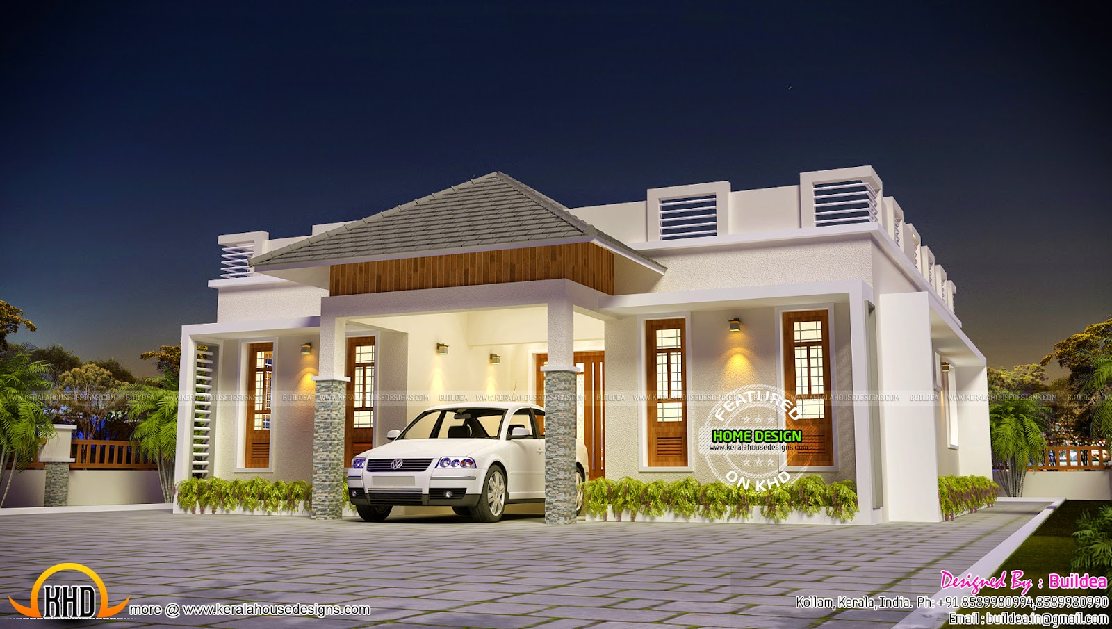 3 bedroom small house design kerala home design and for Small villa plans in kerala