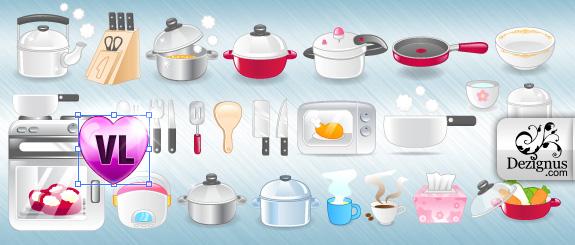 Vectores de algunos utensilios de cocina cute e girly for Implementos para cocina