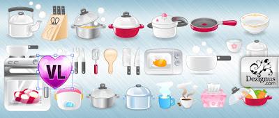 vectores de algunos utensilios de cocina cute e girly