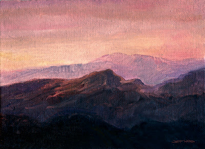 oil painting of a mountain twilight scene