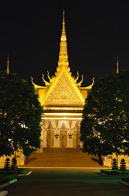 Death of King Norodom Sihanouk, Throne Hall alight, Royal Palace, Phnom Penh, Cambodia