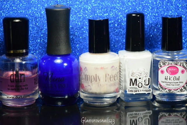 Duri Rejuvacote, Nina Ultra Pro Cobalt, Bliss Kiss Simply Peel Latex Barrier, Mundo De Unas White, Glisten & Glow HK Girl Fast Drying Top Coat