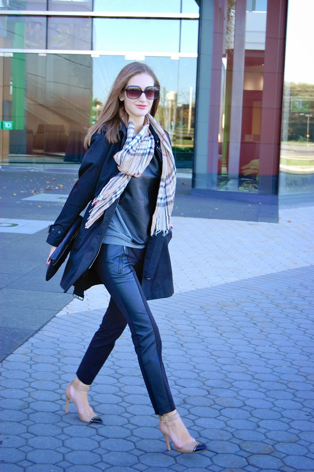 Wearing Burberry Trench Coat, Ann Taylor Faux Leather Dress Pants, Burberry Scarf