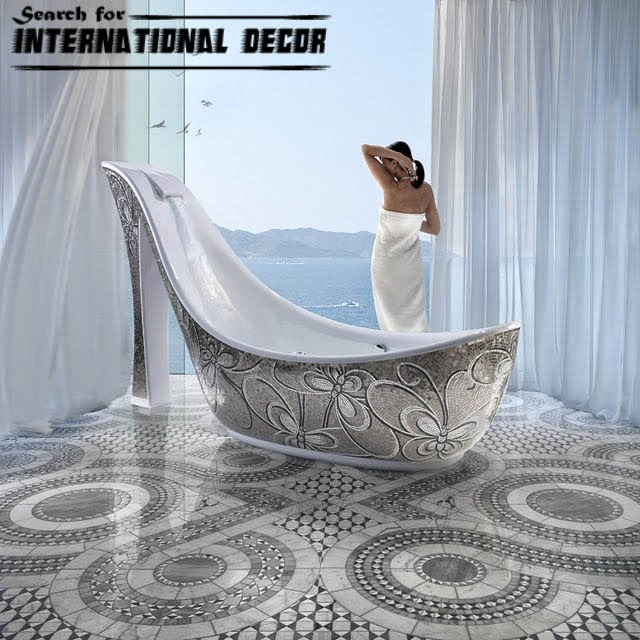 mosaic tile, mosaic tiles, contemporary bathtub